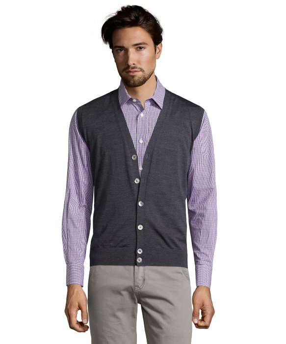Ermenegildo zegna Charcoal Grey Wool Button Front Sweater Vest in ...