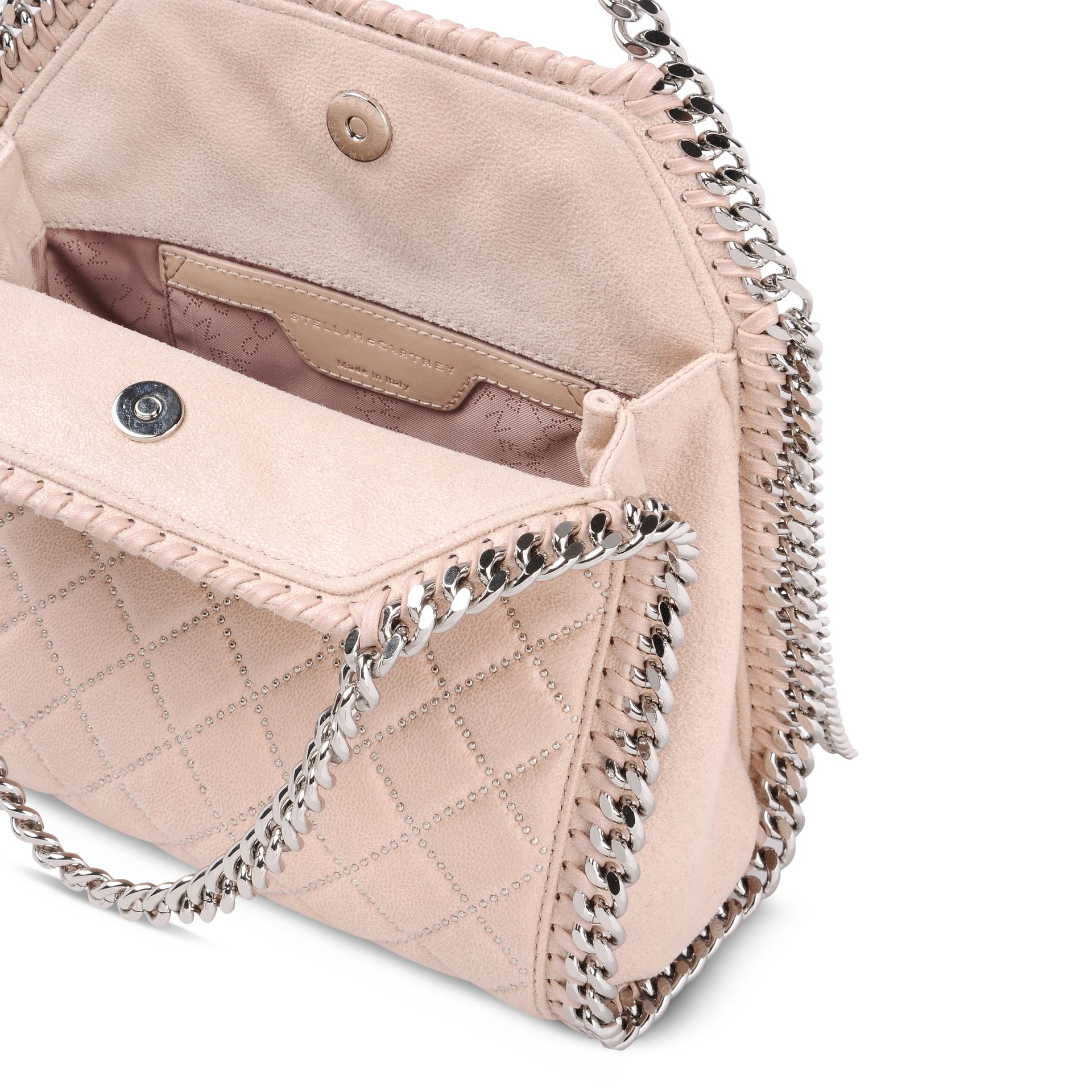 7cc658a722a Pink Women s Fluff Mini Quilted Logo Boot. Lyst - Stella Mccartney Pink  Fluo Falabella Quilted Mini Tote in Pink