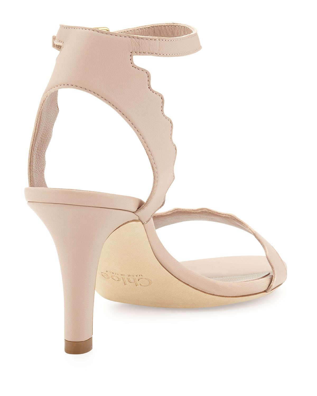 Chloé Leather & Suede Lauren Sandals in Nude. Dk0y4Kc5