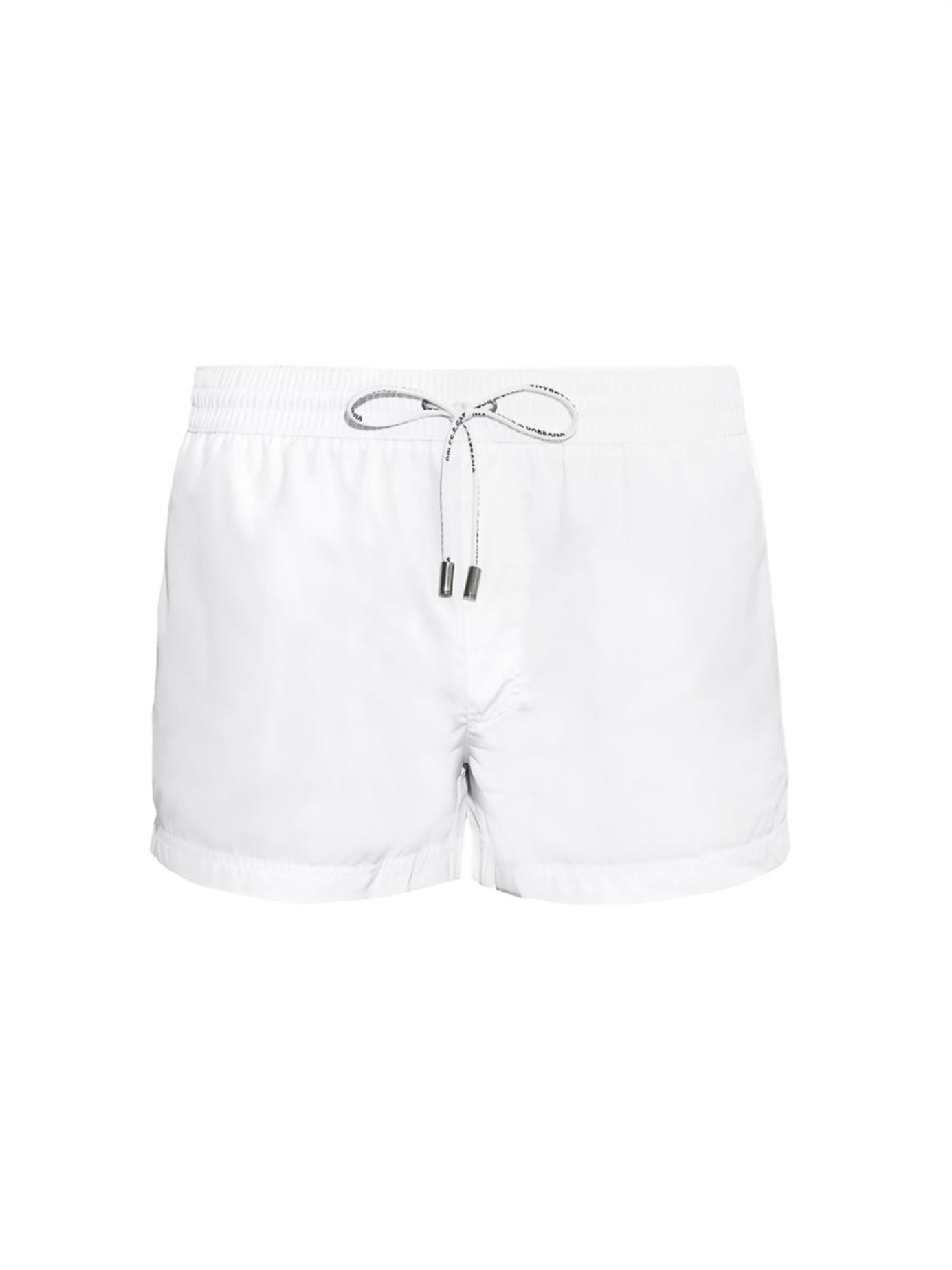 7b8faf30c5 Dolce & Gabbana Crest-Embroidered Swim Shorts in White for Men - Lyst