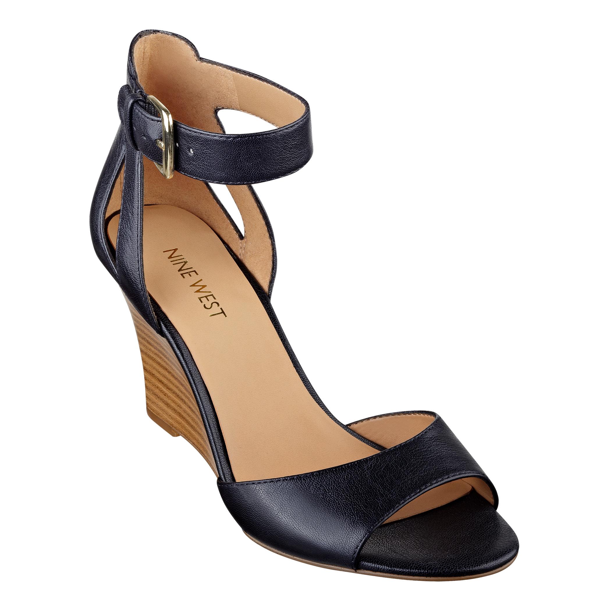 037fdd1422 Nine West Floyd Ankle Strap Wedge Sandals in Black - Lyst