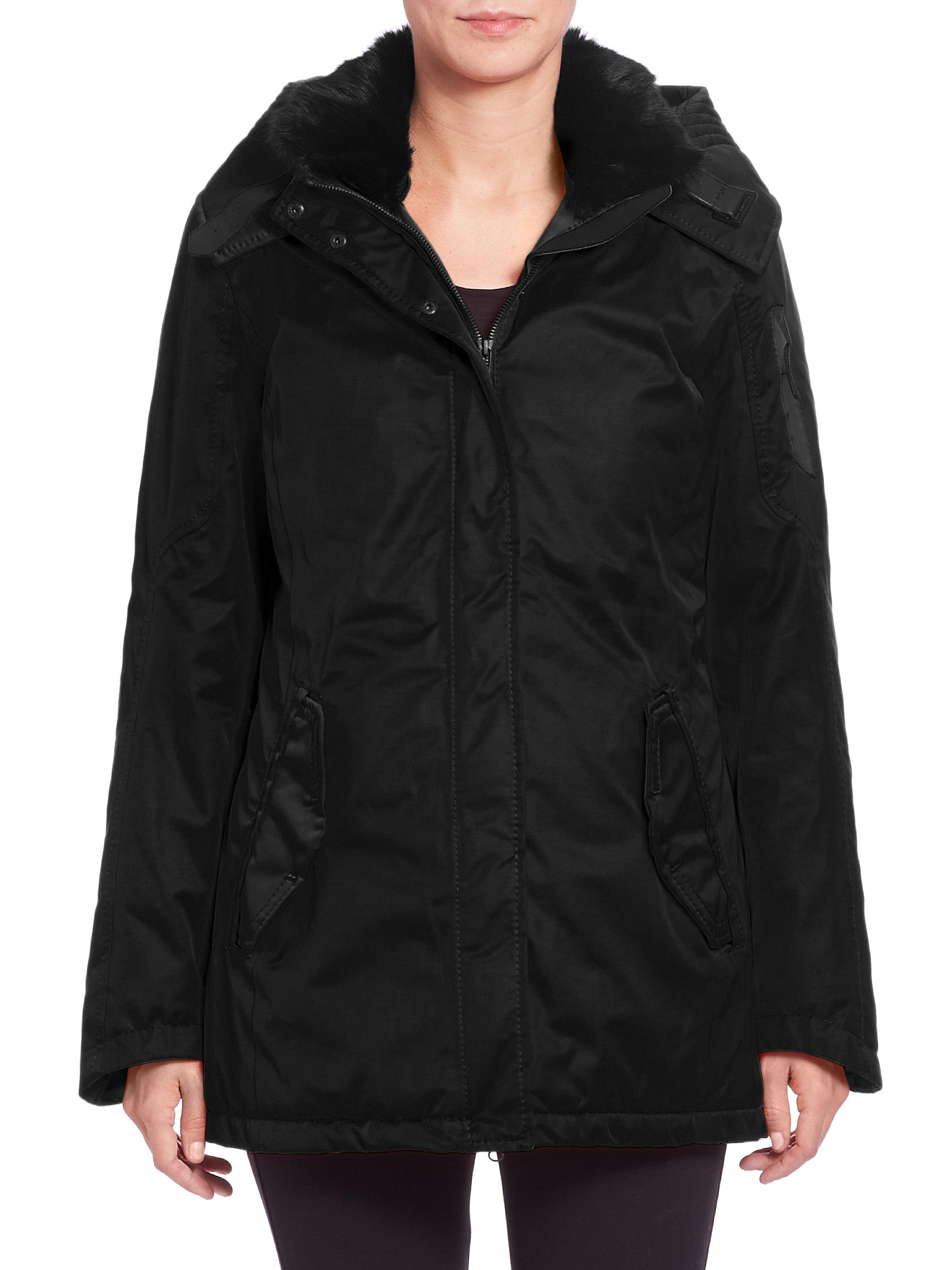g lab mayfair ii fur collar coat in black lyst. Black Bedroom Furniture Sets. Home Design Ideas