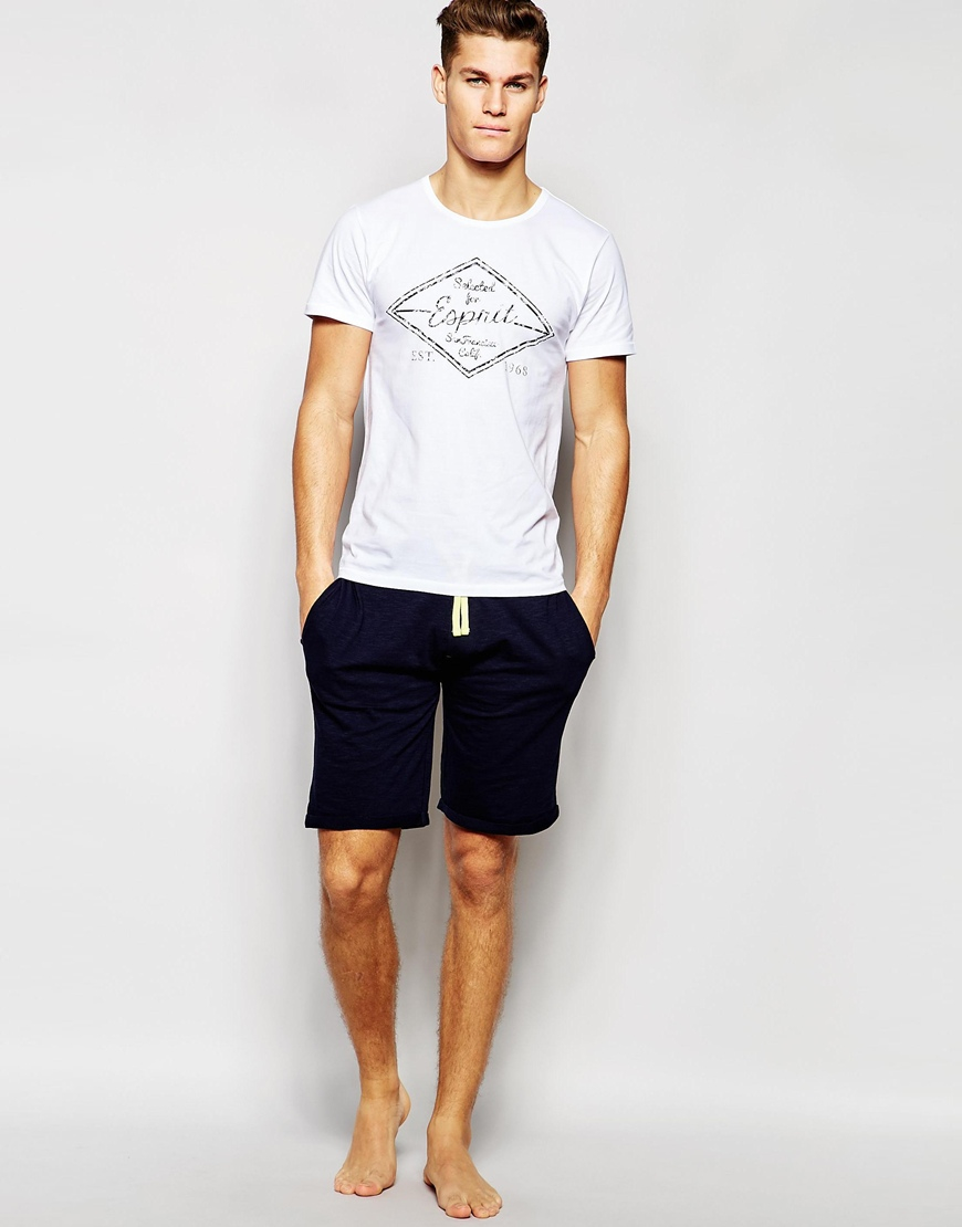 Esprit t shirt in slim fit in white for men lyst for Slim fit white t shirt
