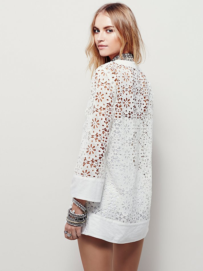 Free People Love Found Lace Tunic in Ivory (White)