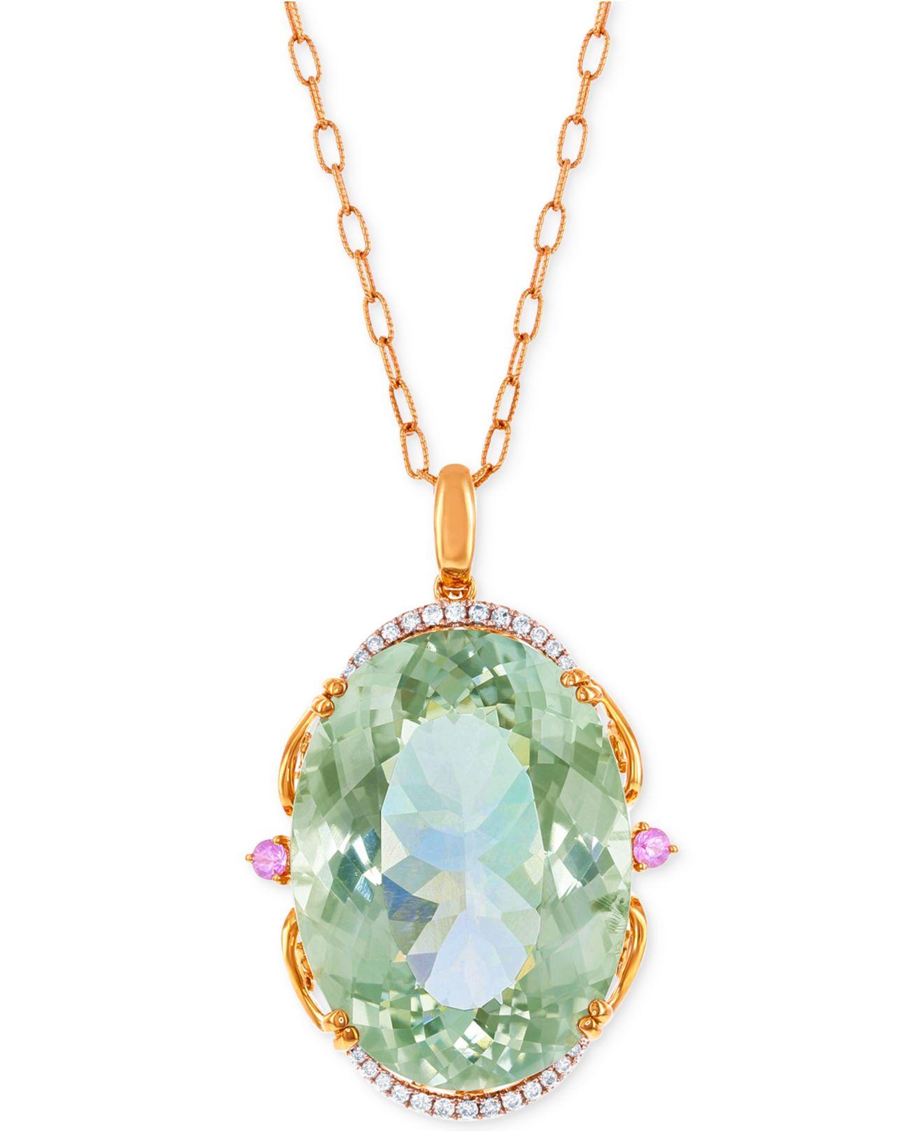 Lali jewels Green Amethyst, Pink Sapphire (73-3/4 Ct. T.w ...