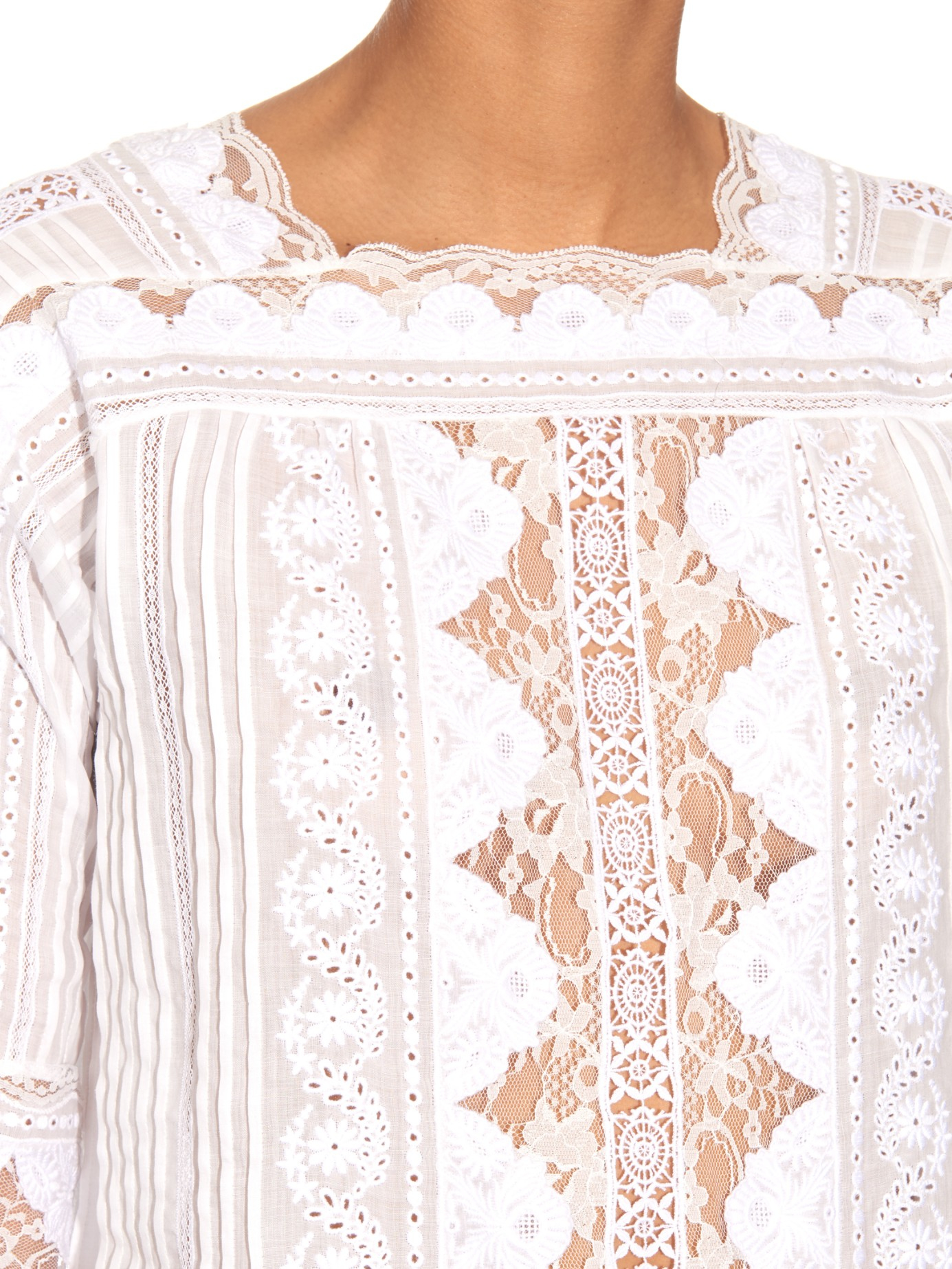 42441f98b Vanessa Bruno White Broderie-anglaise Lace-trimmed Top