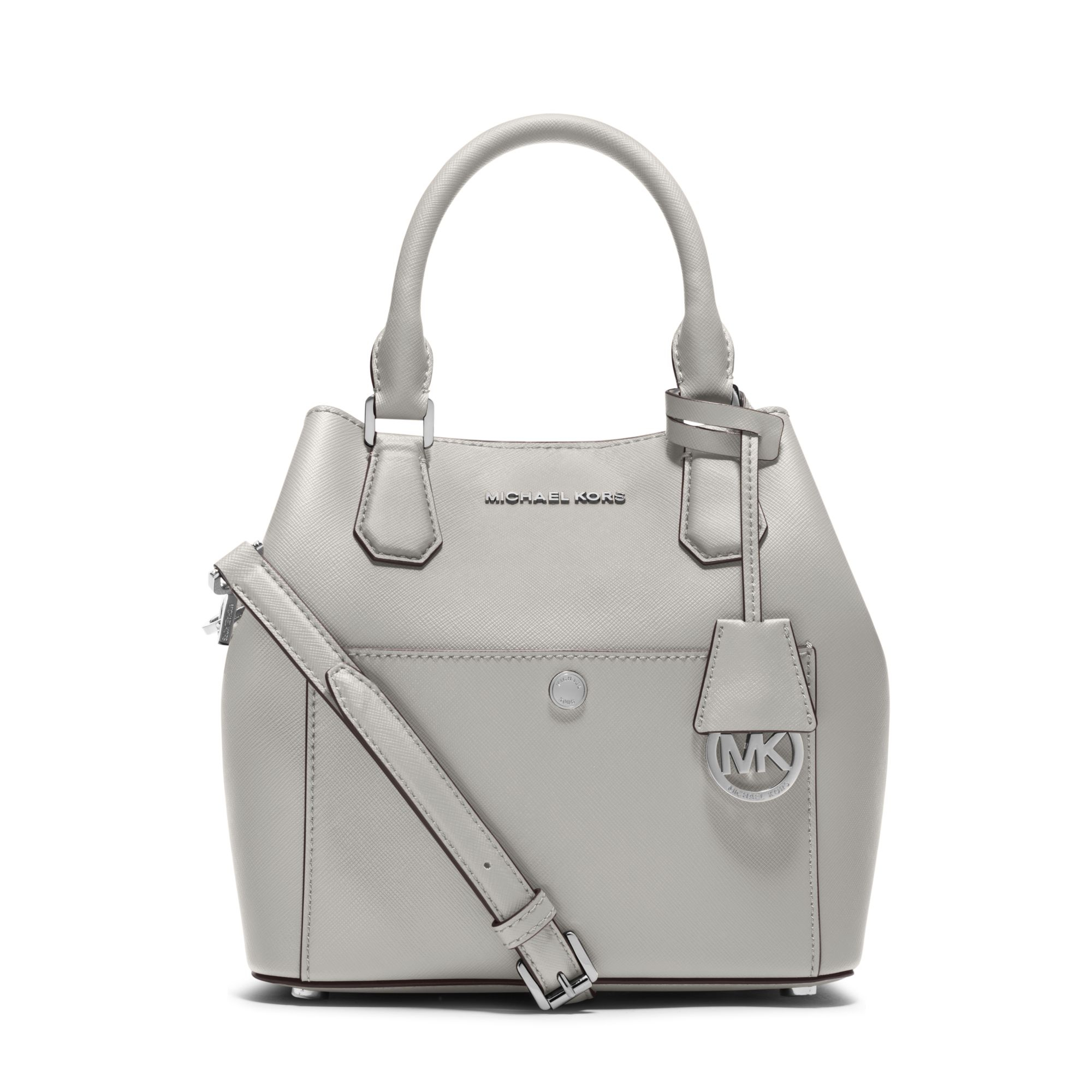 8aa377d594e9 ... ebay lyst michael kors greenwich medium saffiano leather satchel in  white 6674f 8adec