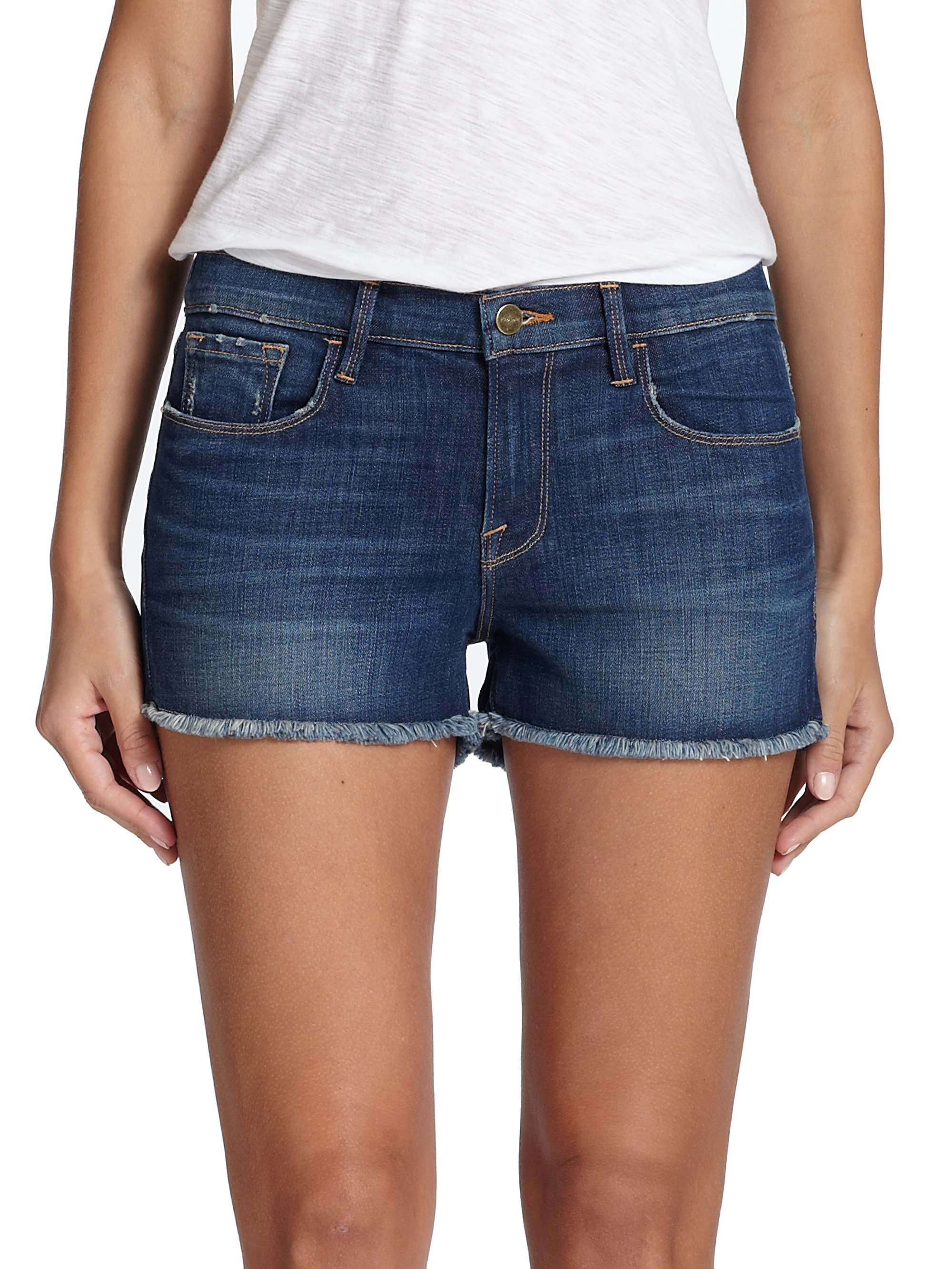 Frame Le Cut-off Denim Shorts in Blue | Lyst