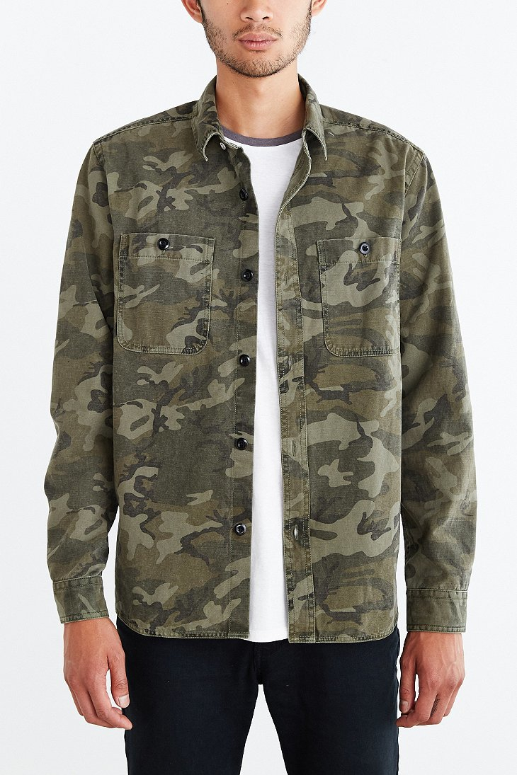 All Son Camo Button Down Overshirt In Green For Men Lyst