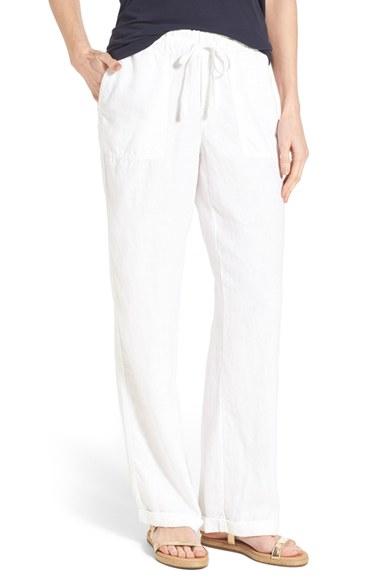 Caslon Drawstring Linen Pants In White Lyst