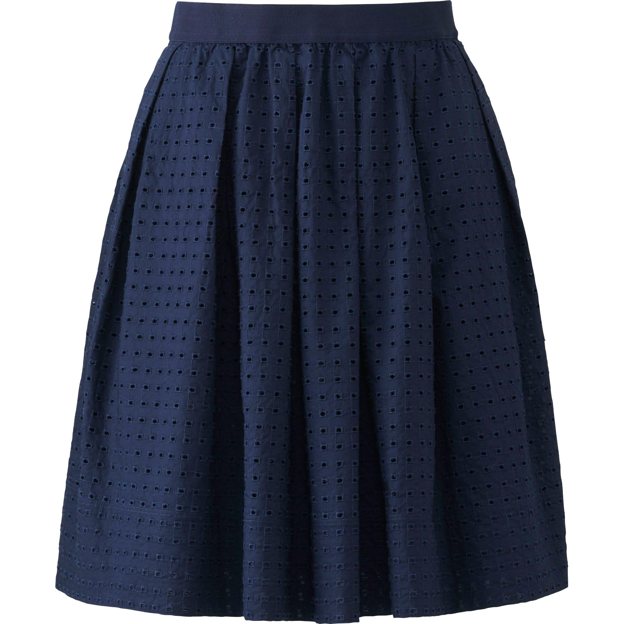 uniqlo s eyelet mini skirt in blue navy save 50