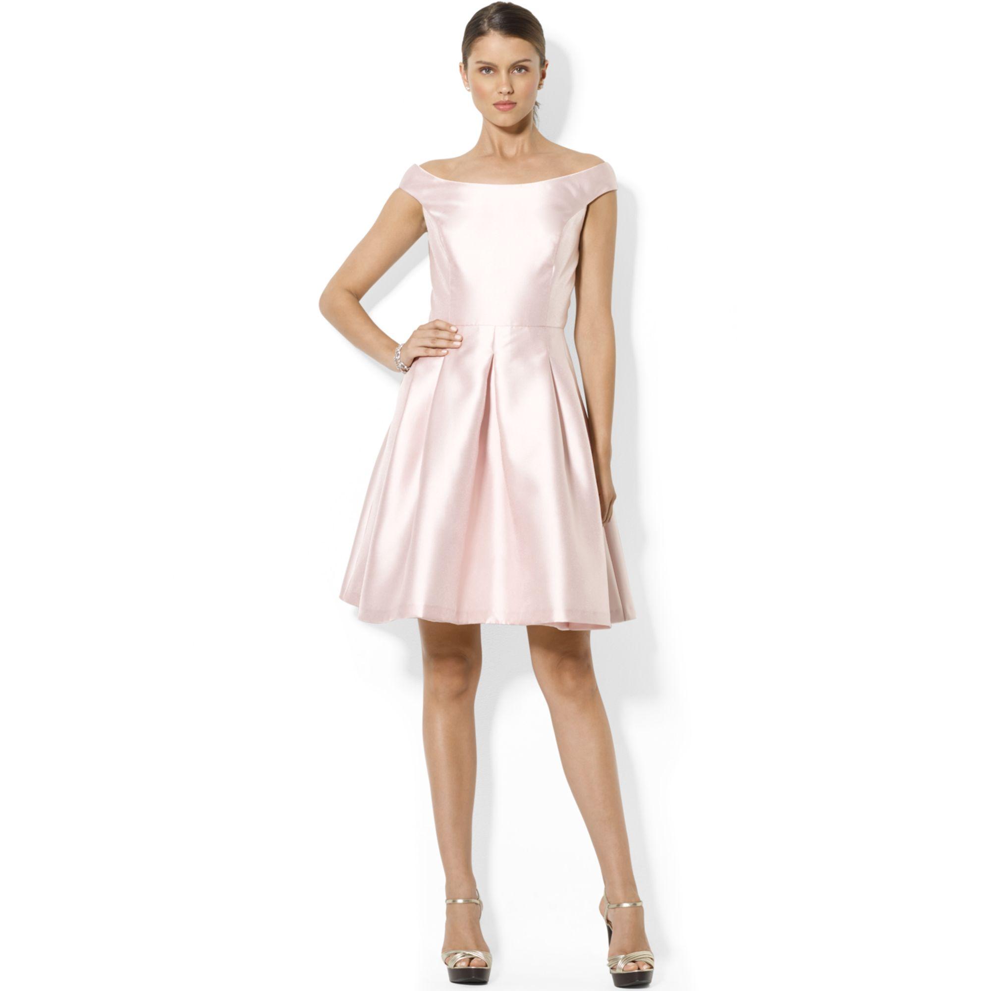 db7e18d3e34 Lauren by Ralph Lauren Capsleeve Boatneck Satin Flare Dress in Pink ...
