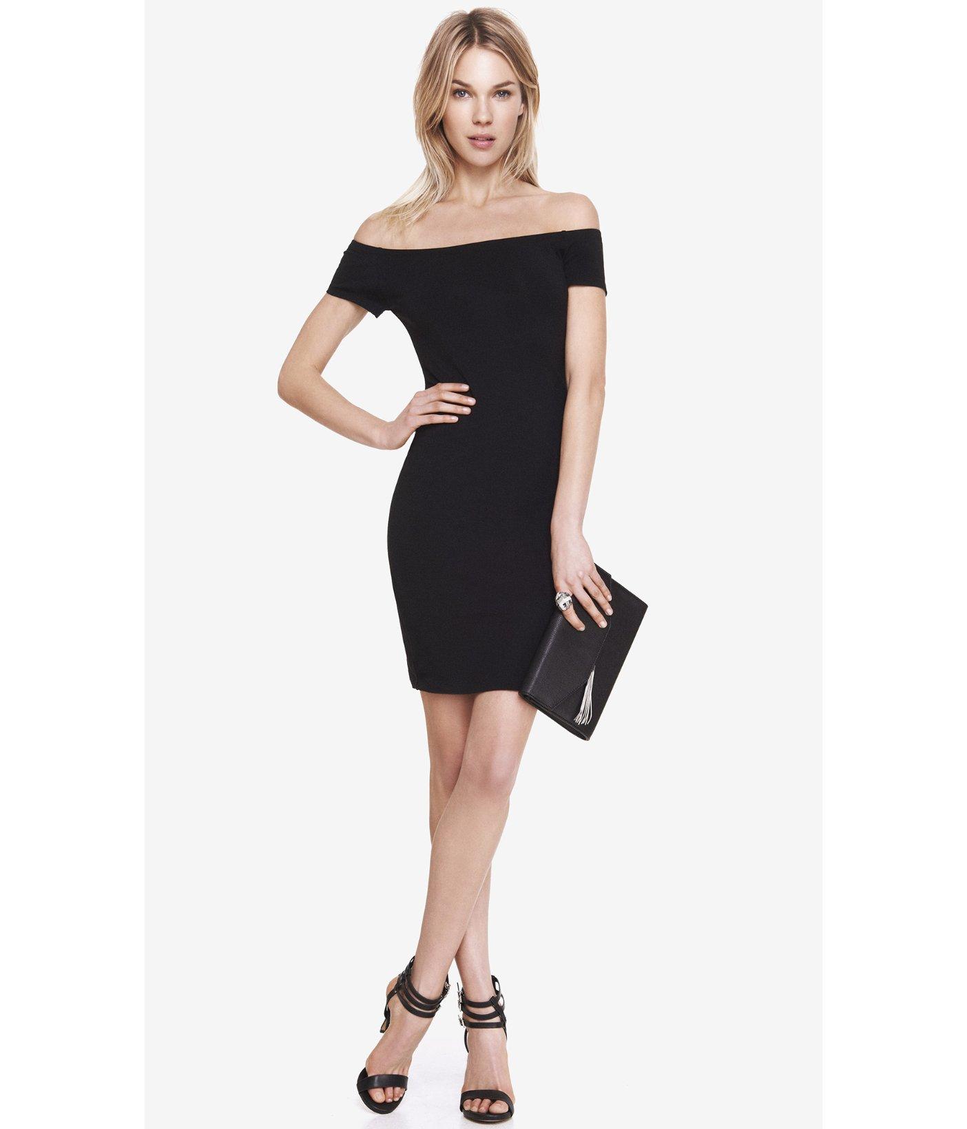 6f9398affa38 Lyst - Express Black Stretch Cotton Off The Shoulder Dress in Black