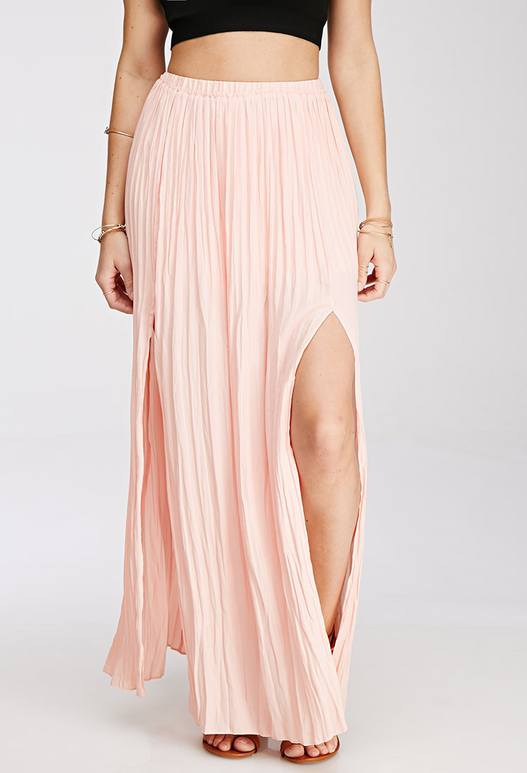 Forever 21 M-slit Pleated Maxi Skirt in Pink | Lyst