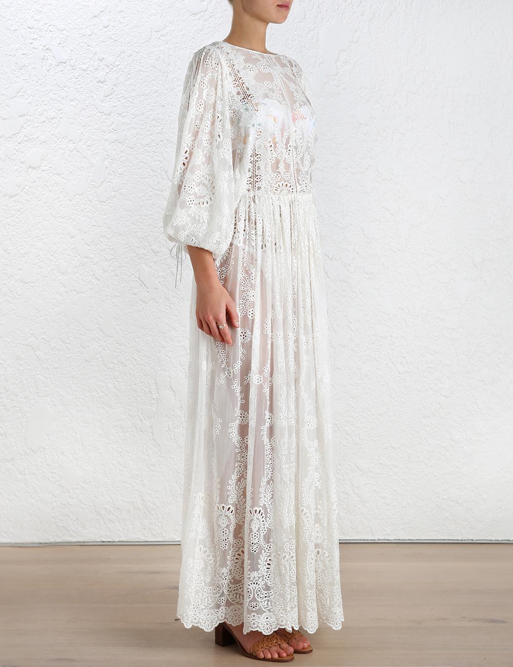 79ddece8eeb4 Zimmermann Alchemy Embroidery Long Dress in White - Lyst