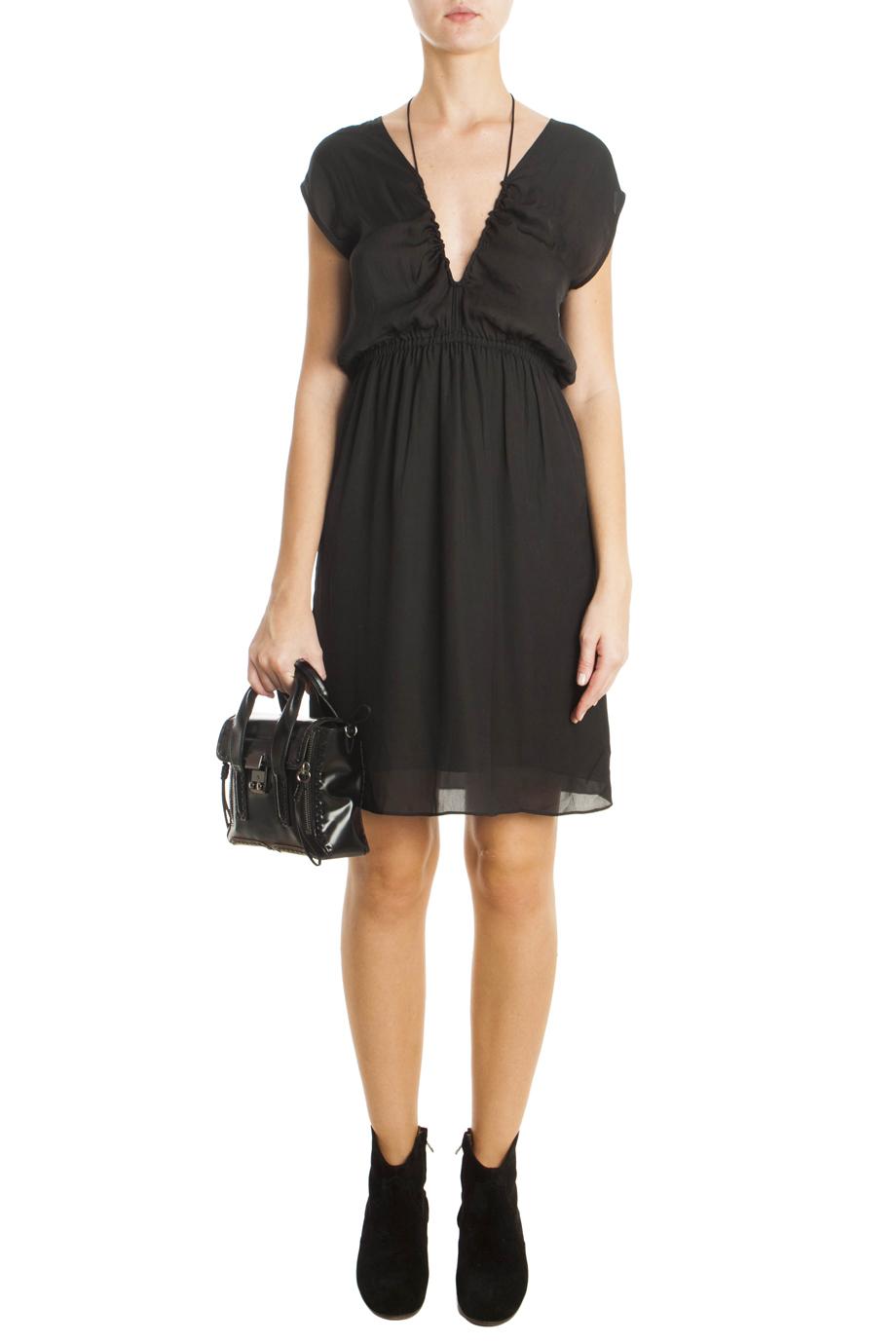 lyst toile isabel marant blaze silk dress in black. Black Bedroom Furniture Sets. Home Design Ideas