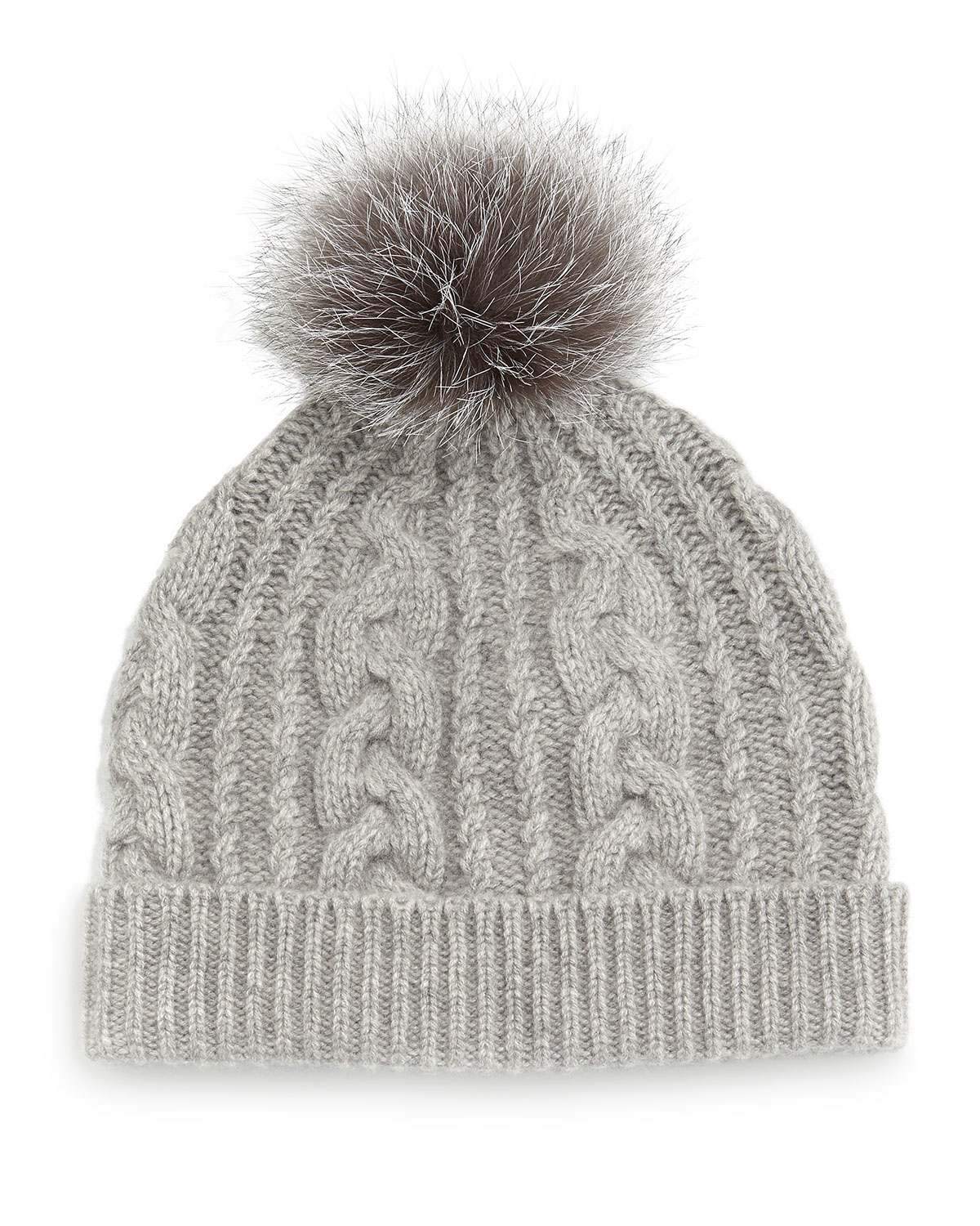 Lyst - Sofia Cashmere Cashmere Cable-knit Hat W fur Pom Pom in Gray 5f9ad9add9c