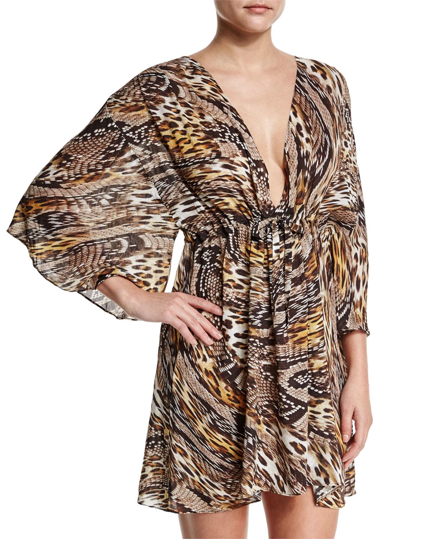 gottex golden leopard sahara animal print beach dress coverup animal product 0 022397100 normal