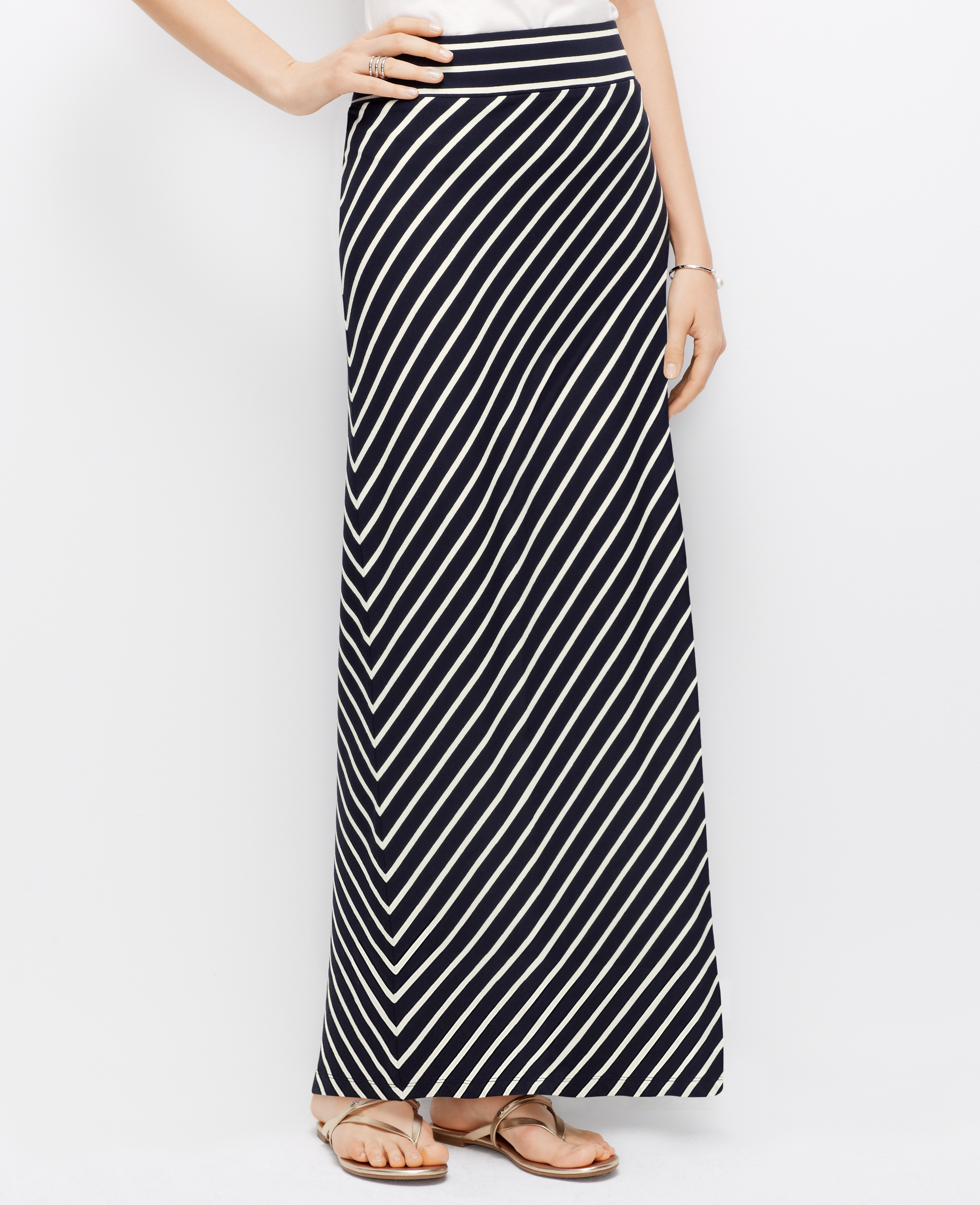 Ann Taylor Diagonal Stripe Maxi Skirt In Blue Lyst