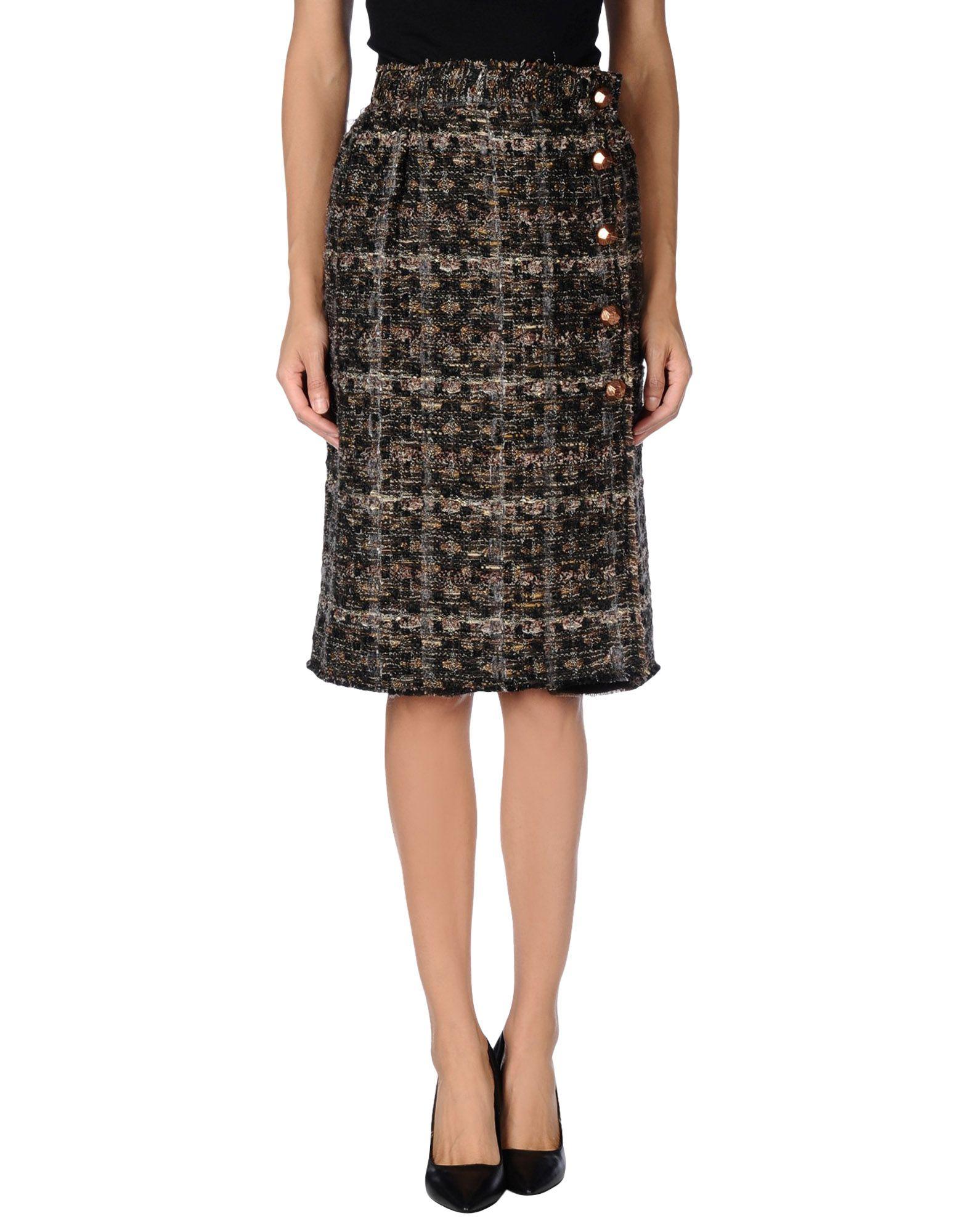dolce gabbana knee length skirt in khaki lyst