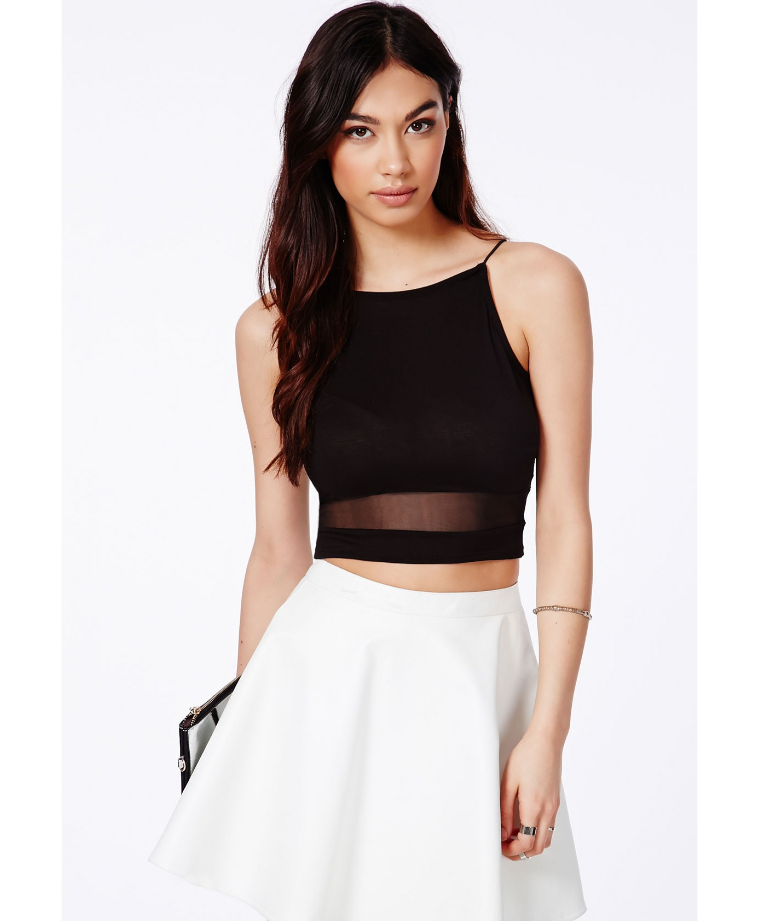 0e05aa085cfad0 Lyst - Missguided Pavelca Black Spaghetti Strap Crop Top With Mesh ...
