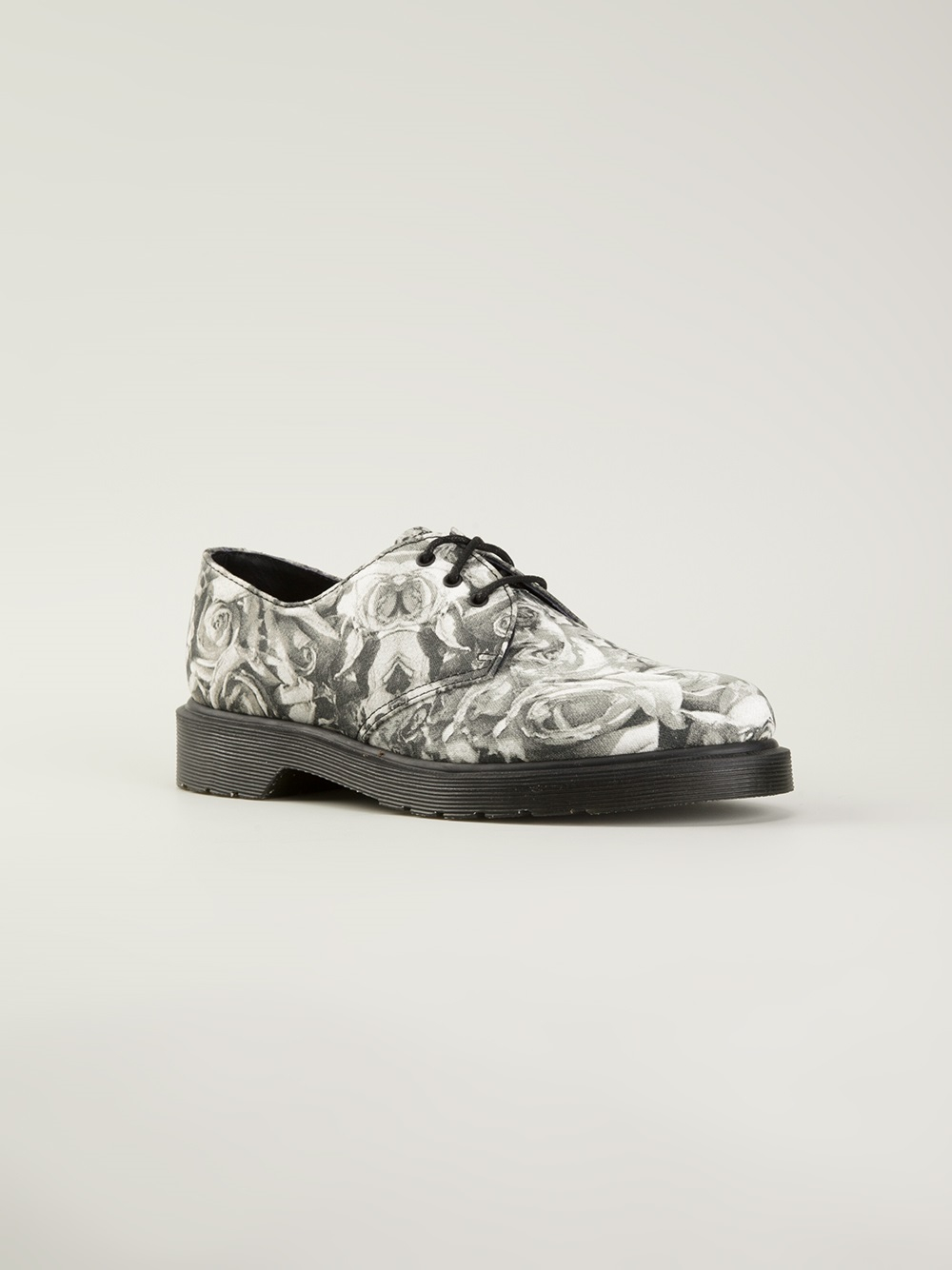 Lyst Dr Martens Floral Print Laceup Shoe In Gray