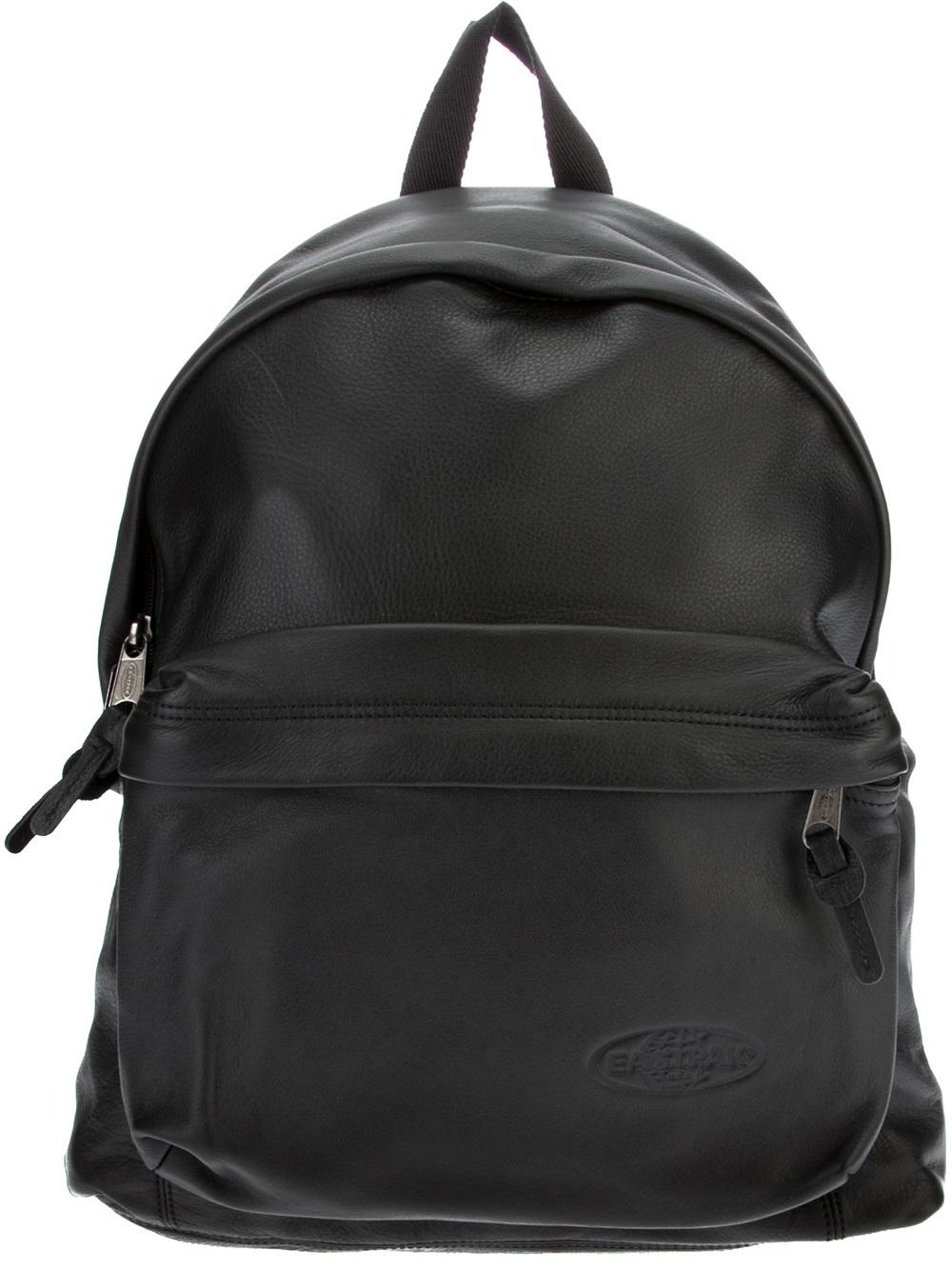 Leather Eastpak Backpack: Eastpak Classic Leather Backpack In Black For Men