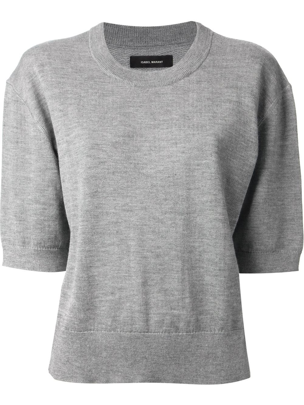 Isabel marant Short Sleeve Sweater in Gray | Lyst