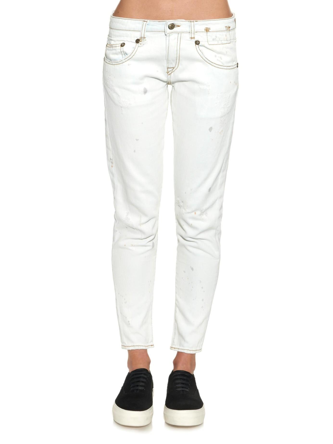 Boy Skinny Boyfriend Jeans - Ivory R13 Sale Deals h6COIB