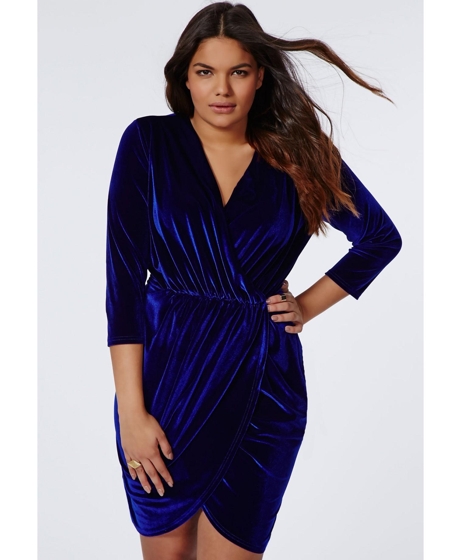 Plus Size Velvet Wrap Dress Cobalt Blue