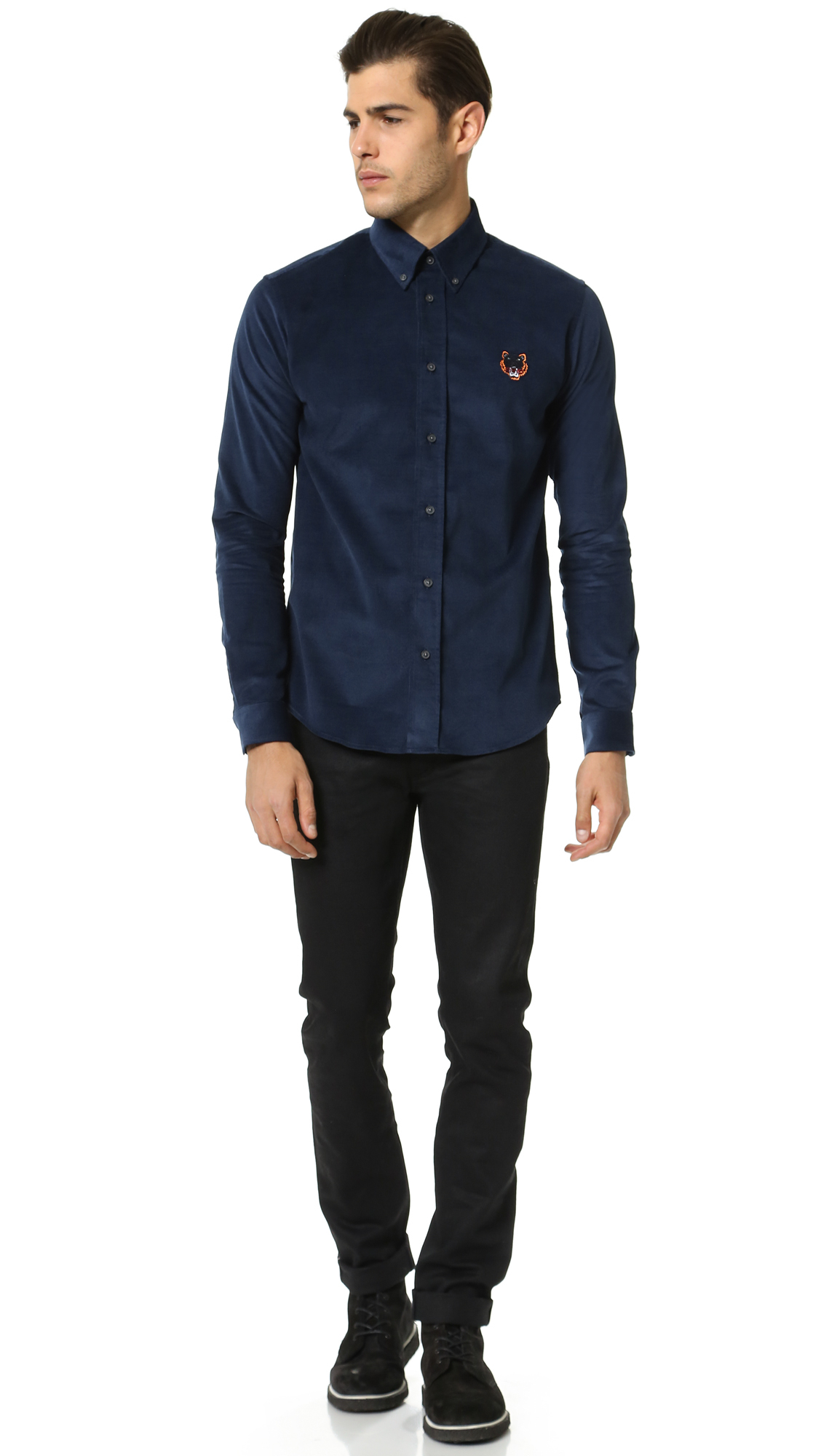 Kenzo Corduroy Tiger Button Down Shirt in Blue for Men | Lyst