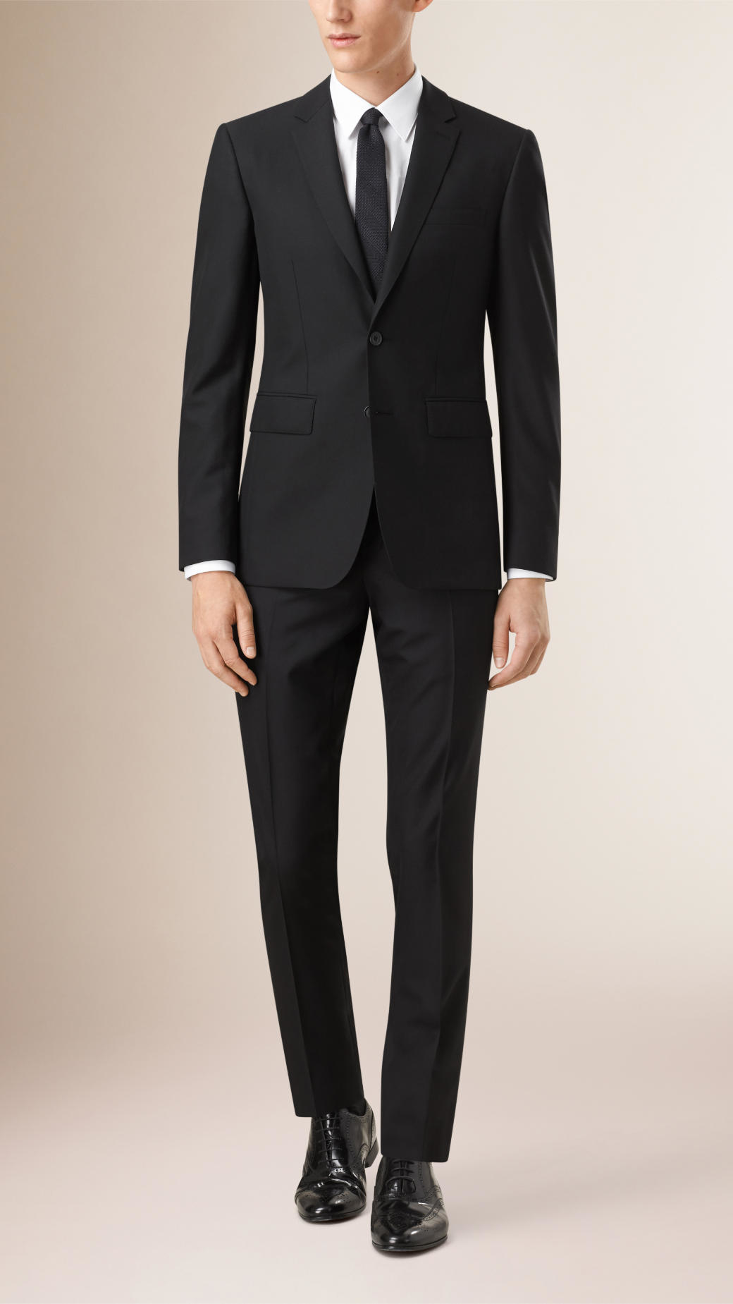 Burberry Slim Fit Wool Part-canvas Suit Black in Black for ...