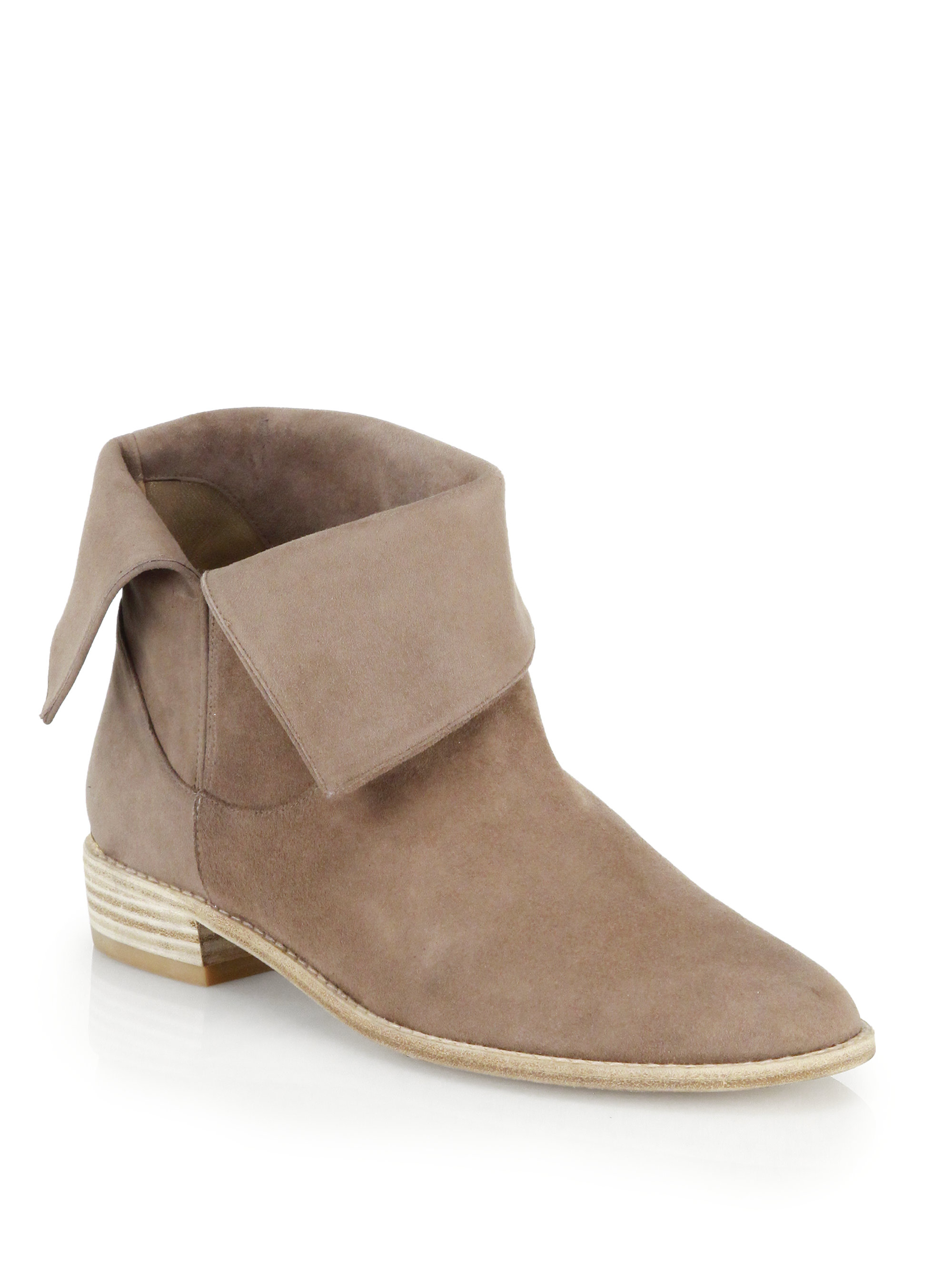 Stuart weitzman Suede Foldover Ankle Boots in Natural | Lyst