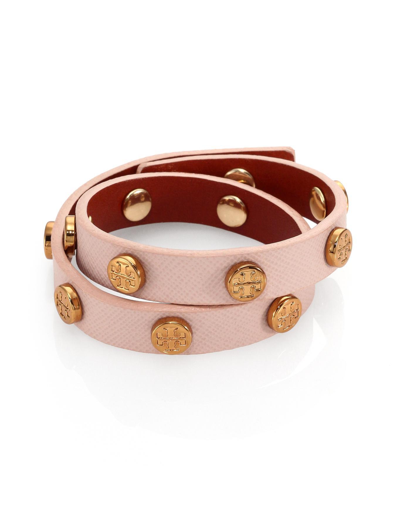 Logo Stud Saffiano Leather Double Wrap Bracelet