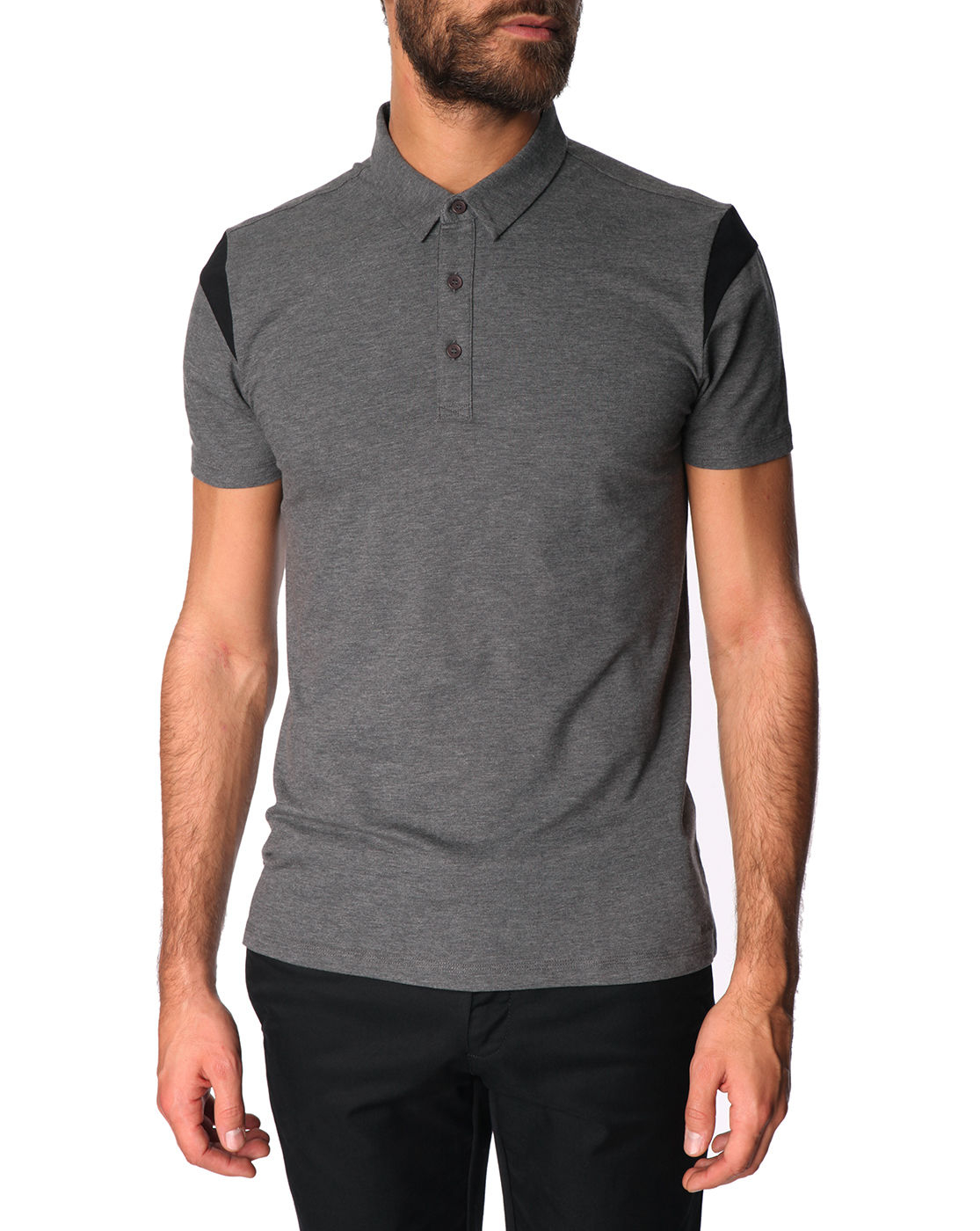 Hugo Grey Polo Shirt With Black Contrast On Sleeves In