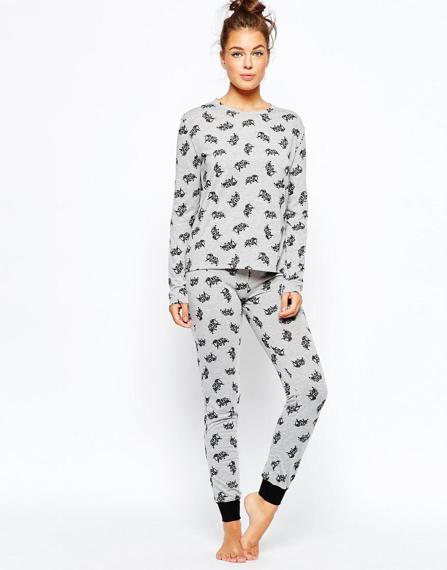 Chelsea Peers Elephant Pajama Set In Gray Lyst