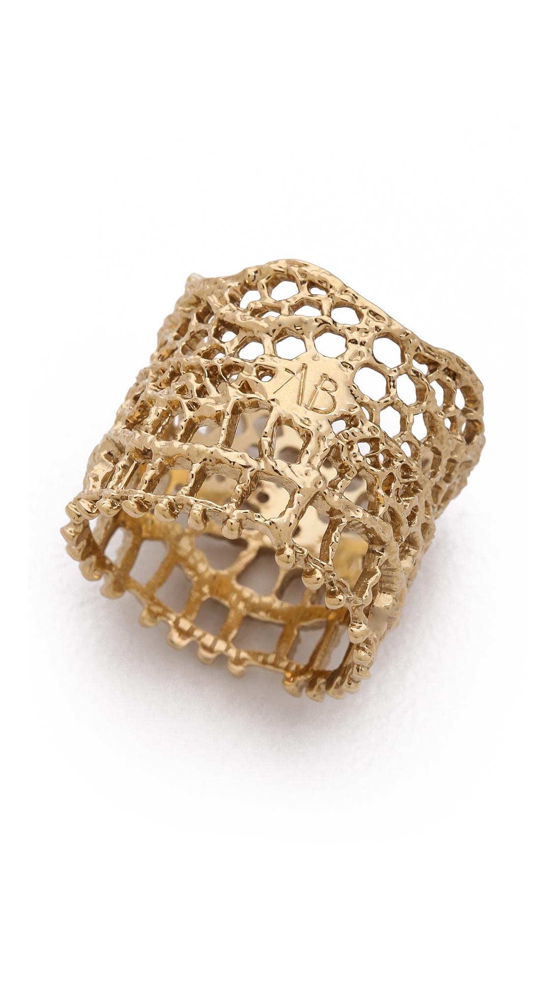 Aurelie Bidermann Vintage Lace Ring Gold In Metallic Lyst