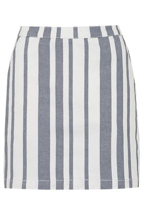 Topshop Moto Striped Denim Skirt in Blue | Lyst