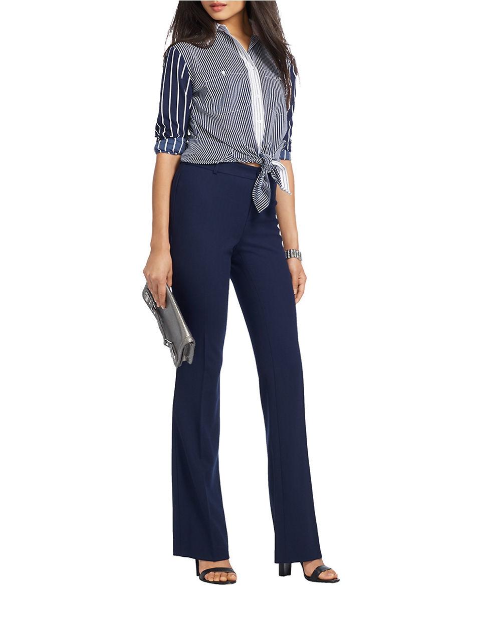 Unique Ralph Lauren Lauren Suede Front Pants In Black  Lyst