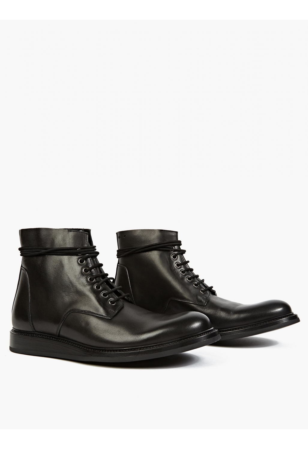 rick owens black leather lace up boots in black for lyst