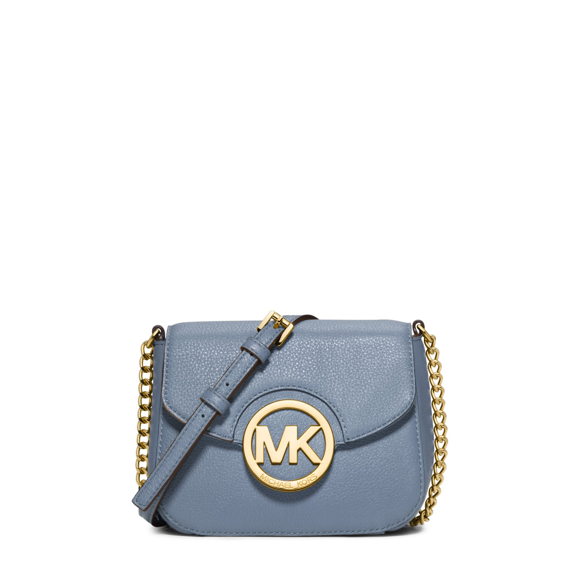 lyst michael kors fulton leather small crossbody in blue. Black Bedroom Furniture Sets. Home Design Ideas