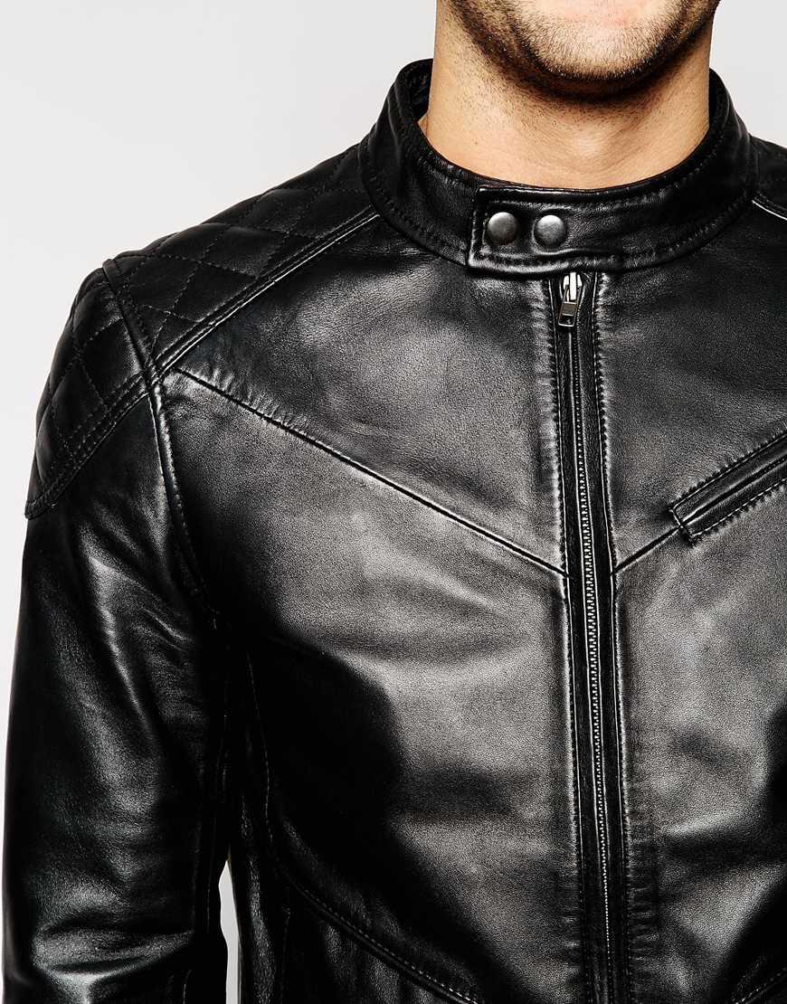 Barneys Originals Barneyu0026#39;s Leather Shoulder Patch Biker Jacket In Black For Men | Lyst
