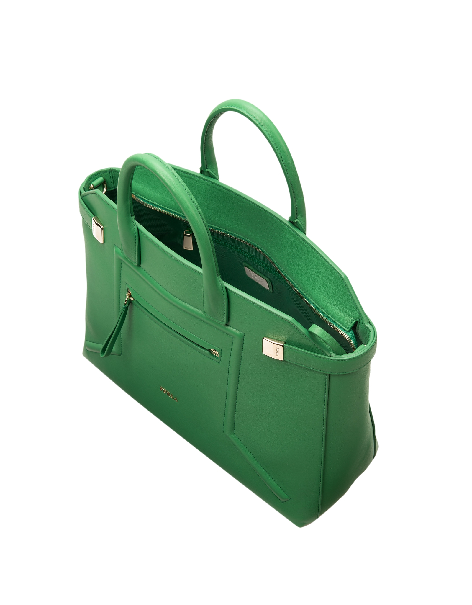 Furla Alice Emerald Green Leather Tote in Green | Lyst