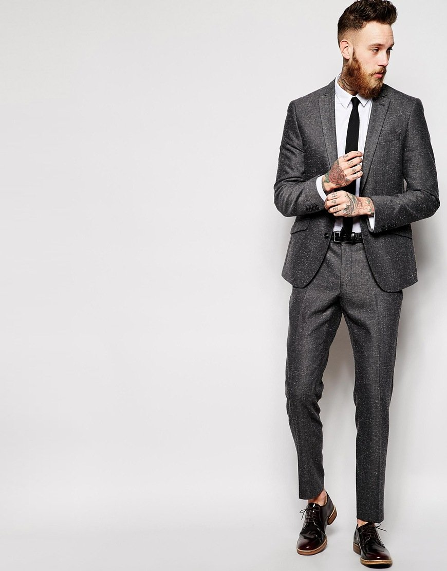 Asos Skinny Suit Trousers In Window Pane Check in Gray for Men | Lyst