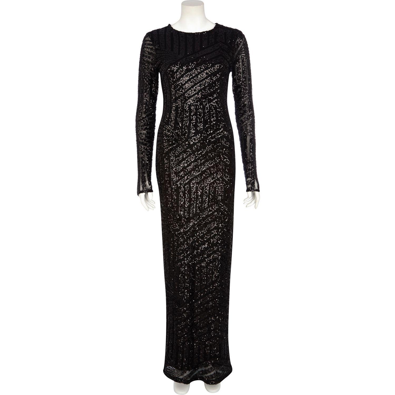 River Island Black Embellished Long Sleeve Maxi Dress