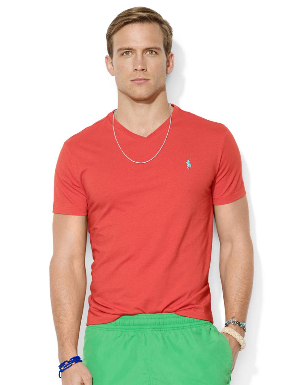 polo ralph lauren jersey v neck t shirt in red for men lyst. Black Bedroom Furniture Sets. Home Design Ideas