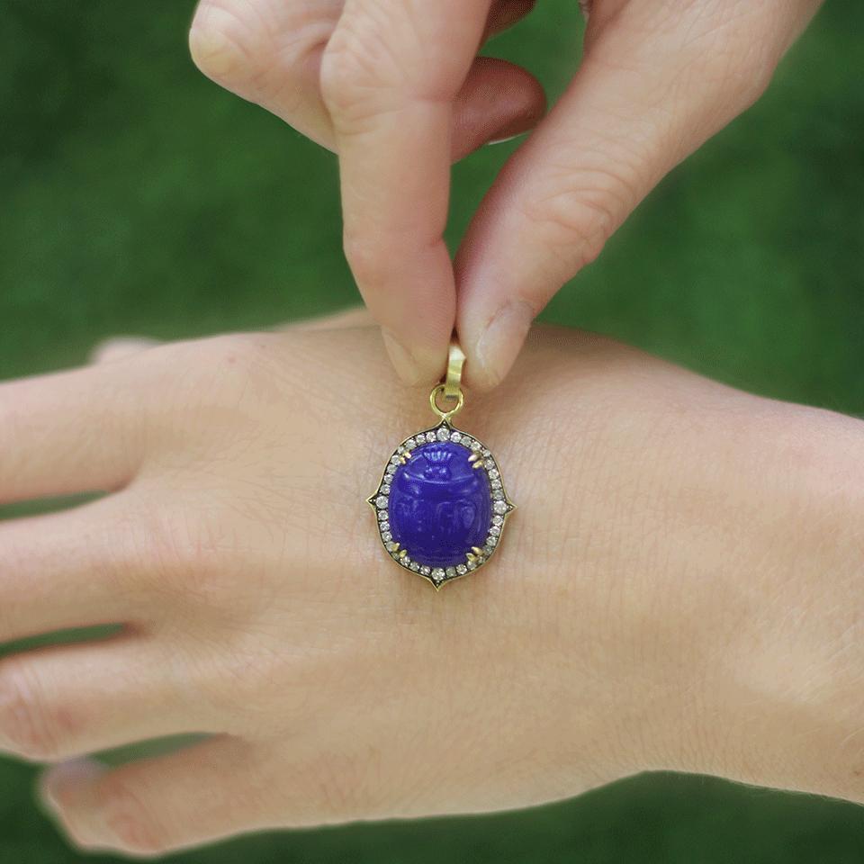 Sylva & Cie Intaglio Scarab Pendant in Blue