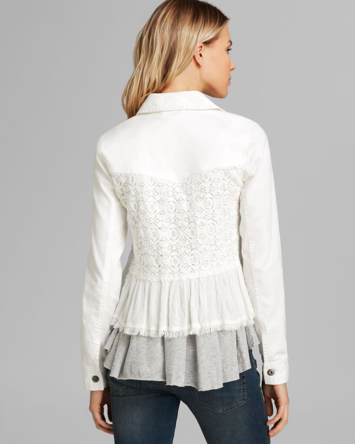 Lyst Free People Denim And Lace Mix Jacket In White