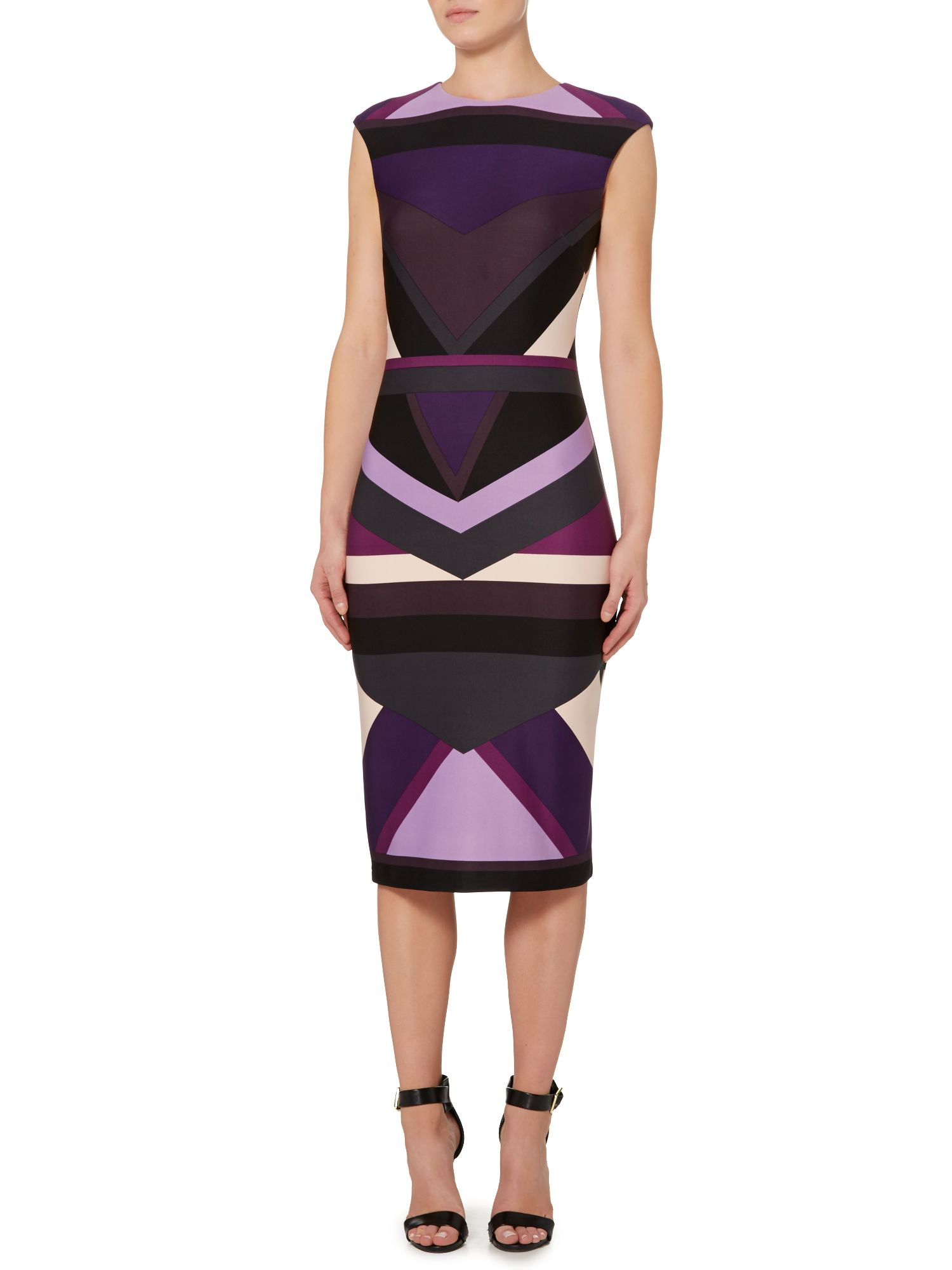 Vince Camuto Geometric Print Dress In Purple Lyst