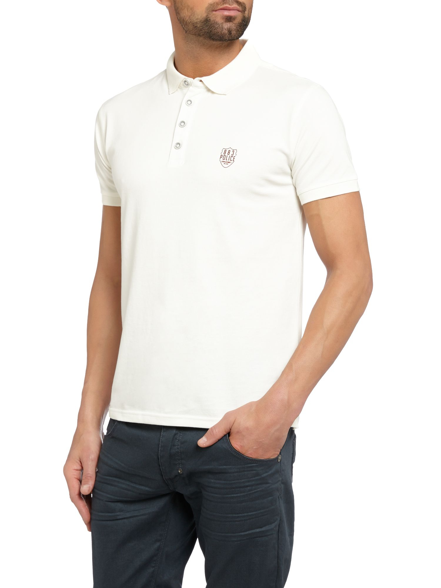 883 police mellor plain regular fit polo shirt in white for White fitted polo shirts